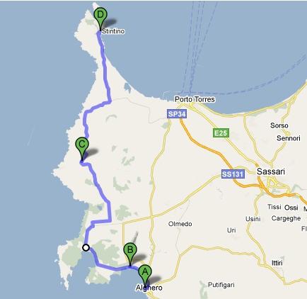 Itinerario da Alghero a Stintino in bici