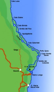 Mappa del Selvaggio Blu, trekking in Sardegna