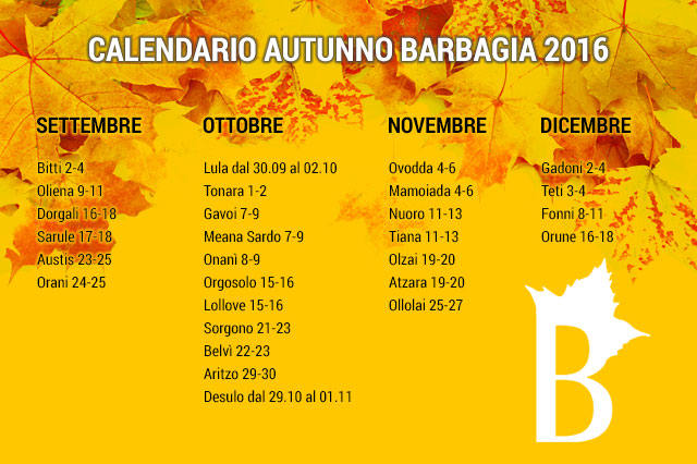 Calendario Autunno in Barbagia 2016