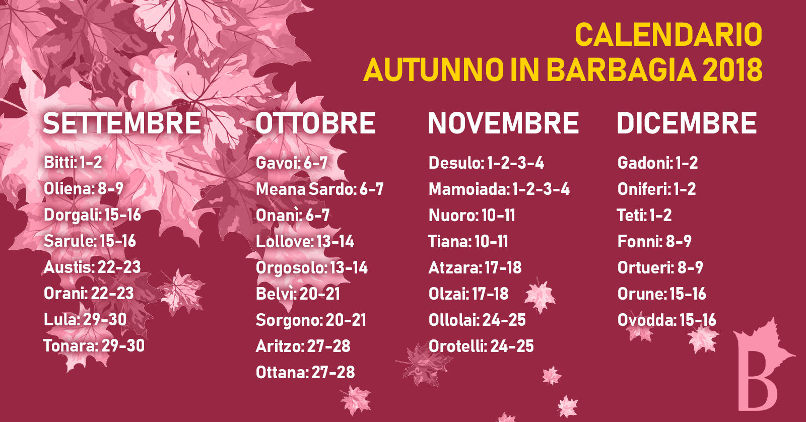 Calendario autunno in barbagia 2018
