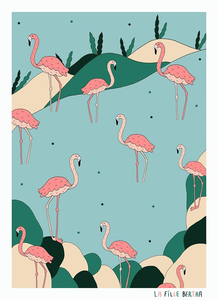 """""""Pink Flamingos"""", tecnica mista & digitale. La Fille Bertha 2019, commissione privata"""